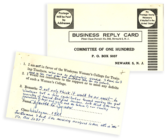Committee of 100 reply card
