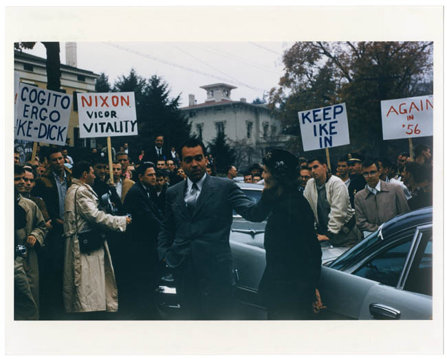 Vice President and Mrs. Nixon campaign on campus, 1956