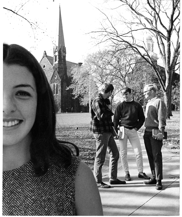 Wesleyan students in front of college row, 1966