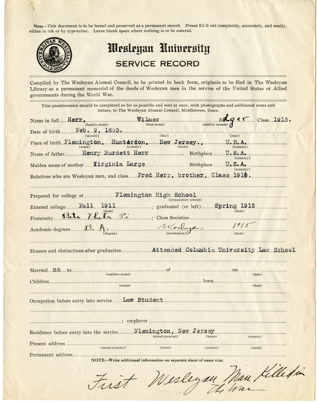 Wilmer Herr's WWI service record