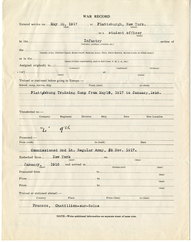 Wilmer Herr's WWI service record, page 2