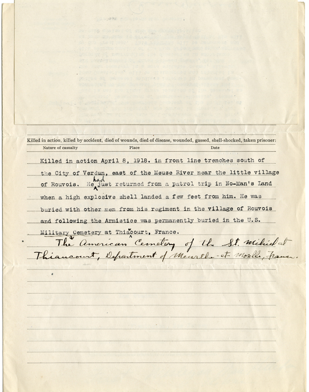 Wilmer Herr's WWI service record, page 4