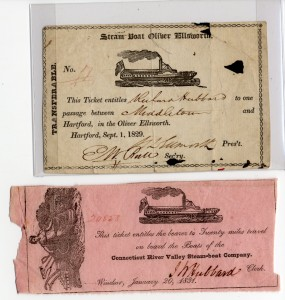 These are two tickets form the 18th century folder, from 1829 and 1831, both on steamboats in Connecticut.