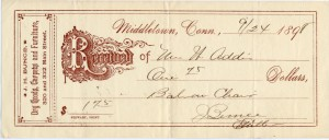 A receipt from J. H. Bunce, Dry Goods, Carpets, and Furniture for a purchace a chair, $1.75, in 1898.