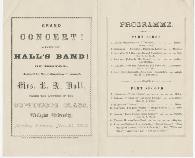 Music program, 1864
