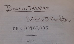 Boston Theatre handwritten