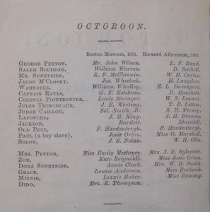 Cast of the 1861 production