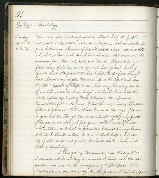 William North Rice diary, April 21, 1861